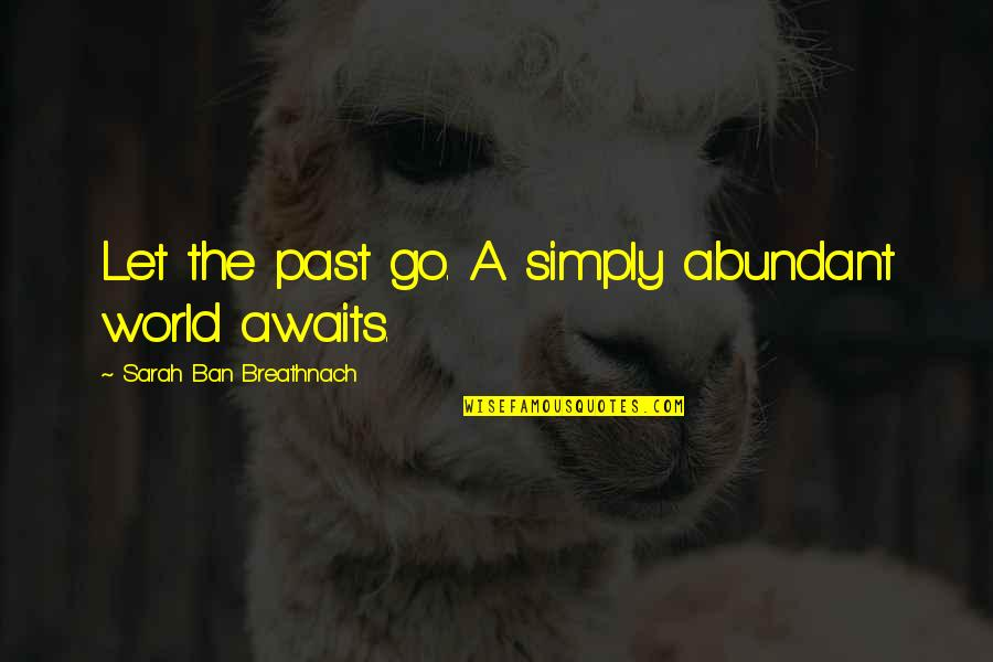 The World Awaits Quotes By Sarah Ban Breathnach: Let the past go. A simply abundant world