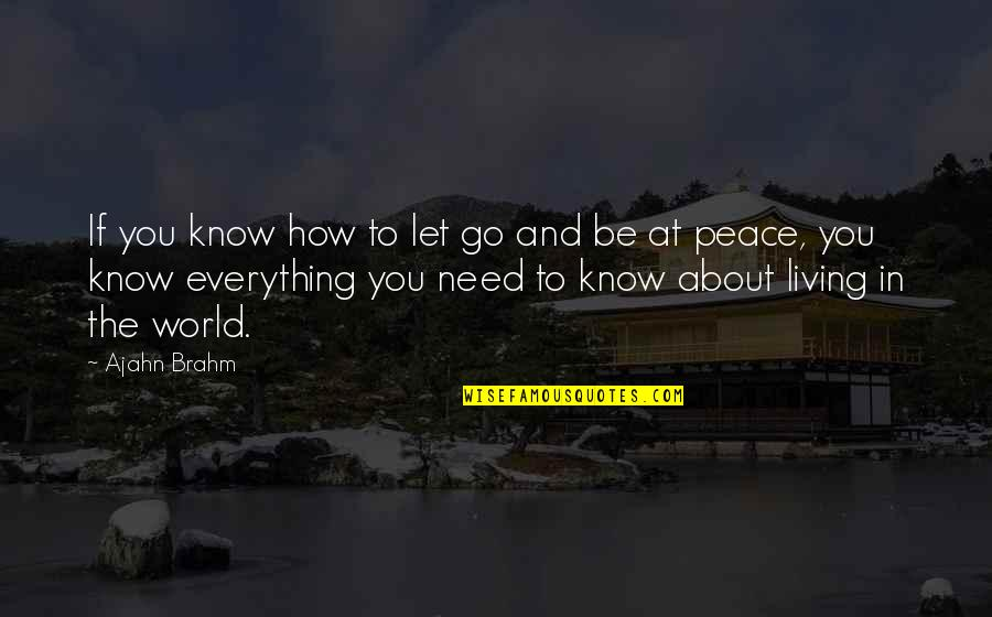 The World Needs You Quotes By Ajahn Brahm: If you know how to let go and