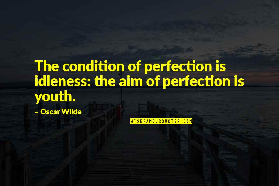 The Youth Quotes By Oscar Wilde: The condition of perfection is idleness: the aim
