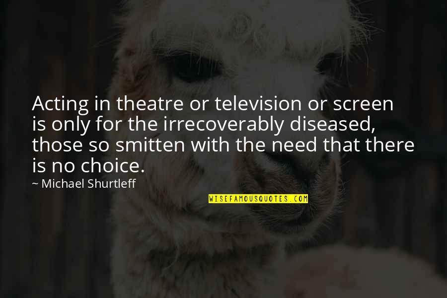 Theatre And Acting Quotes By Michael Shurtleff: Acting in theatre or television or screen is