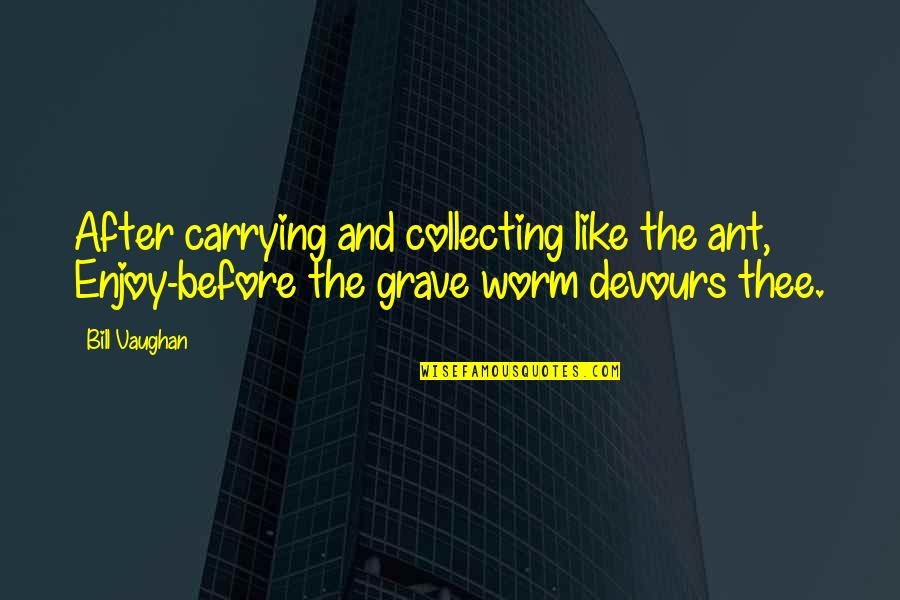 Thee Quotes By Bill Vaughan: After carrying and collecting like the ant, Enjoy-before