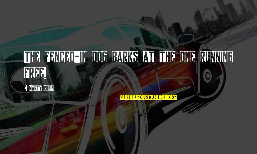 Themeless Quotes By Marty Rubin: The fenced-in dog barks at the one running