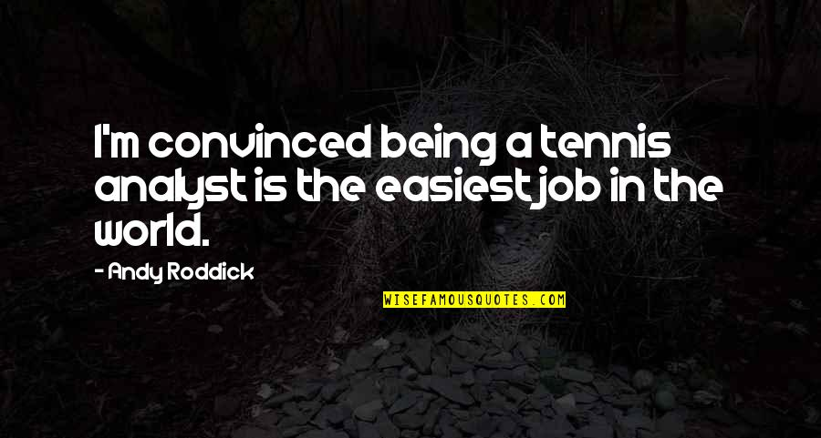 Theodora Goes Wild Quotes By Andy Roddick: I'm convinced being a tennis analyst is the