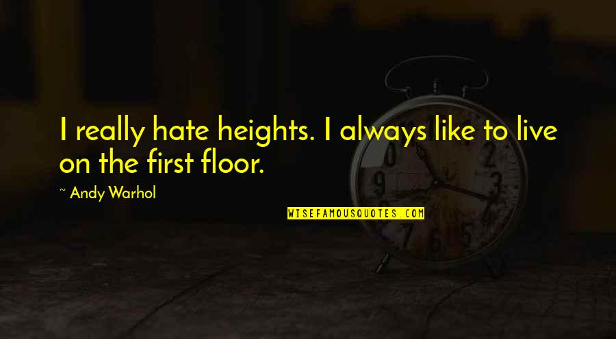 Theodore Rubin Quotes By Andy Warhol: I really hate heights. I always like to