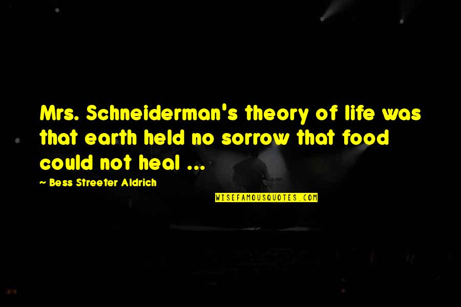 Theory's Quotes By Bess Streeter Aldrich: Mrs. Schneiderman's theory of life was that earth