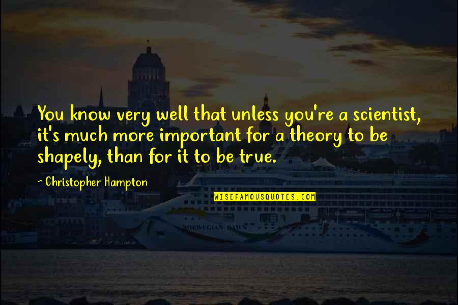 Theory's Quotes By Christopher Hampton: You know very well that unless you're a