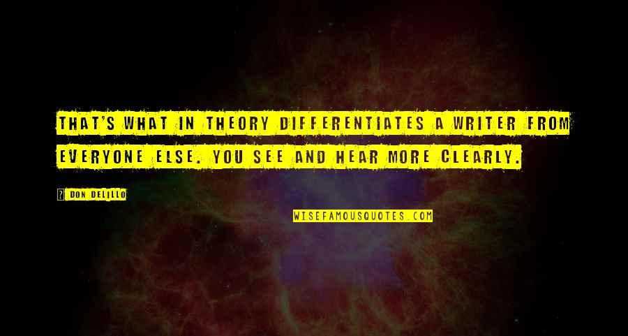 Theory's Quotes By Don DeLillo: That's what in theory differentiates a writer from