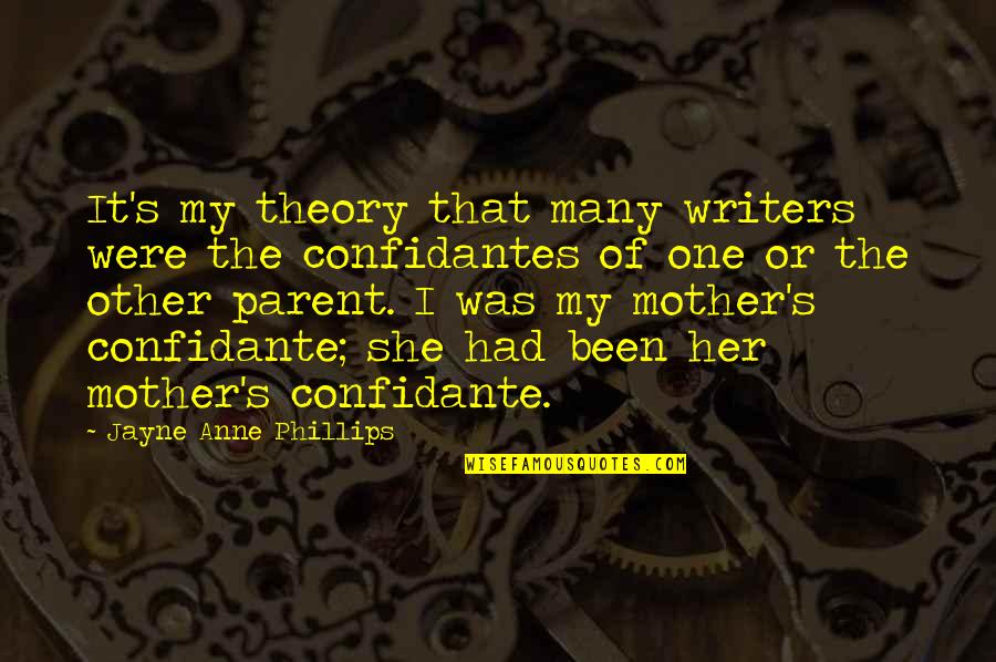 Theory's Quotes By Jayne Anne Phillips: It's my theory that many writers were the