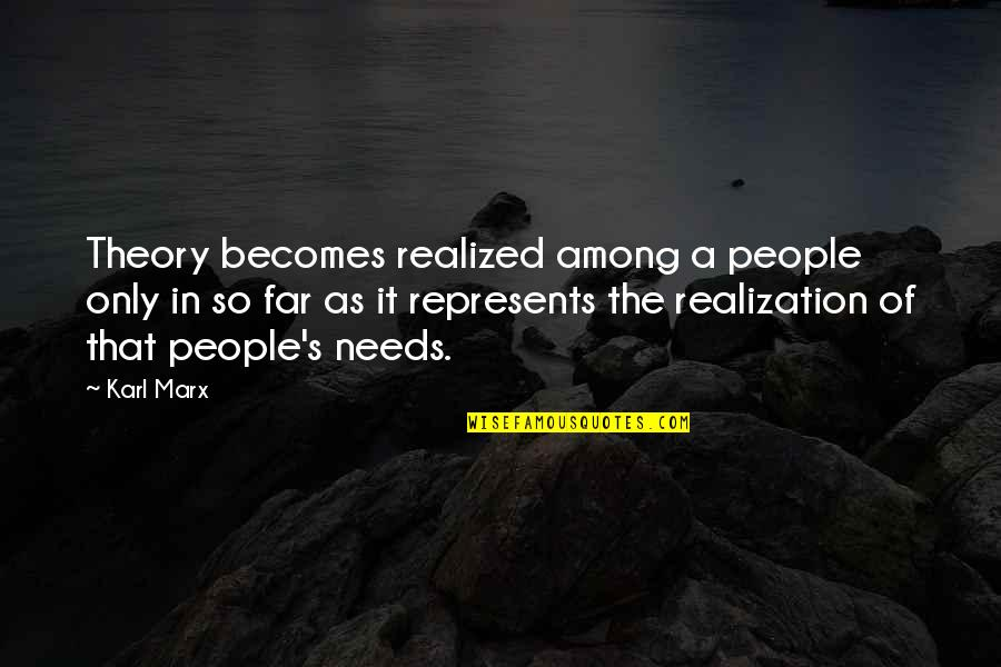 Theory's Quotes By Karl Marx: Theory becomes realized among a people only in