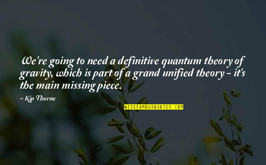 Theory's Quotes By Kip Thorne: We're going to need a definitive quantum theory
