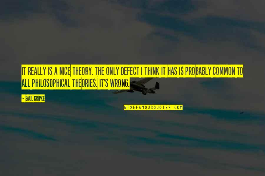 Theory's Quotes By Saul Kripke: It really is a nice theory. The only