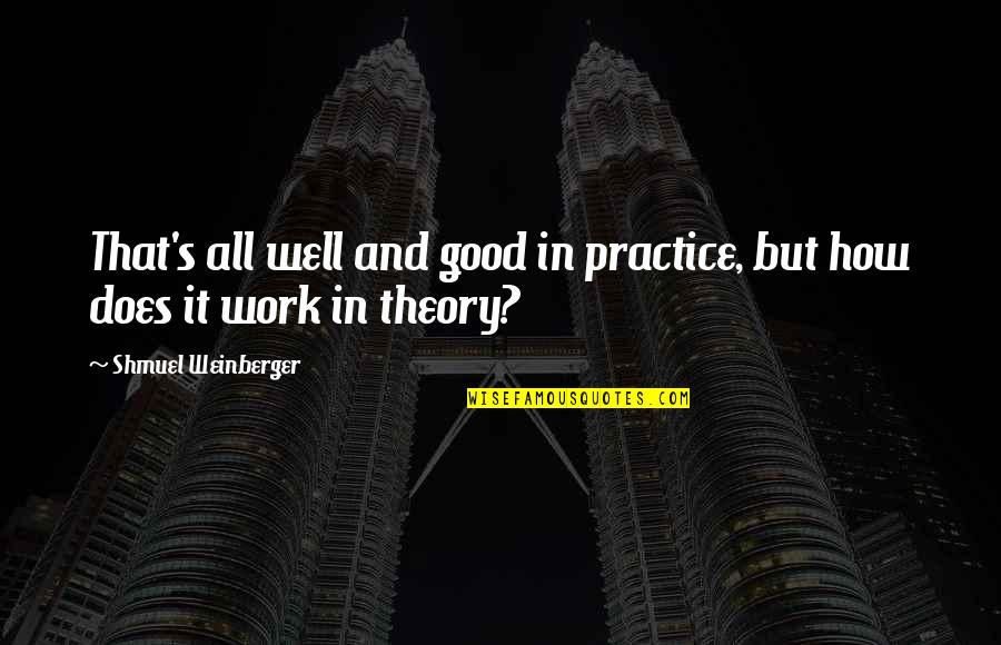 Theory's Quotes By Shmuel Weinberger: That's all well and good in practice, but