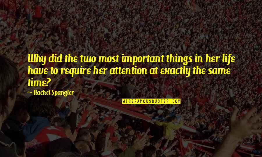 There More Important Things Life Quotes By Rachel Spangler: Why did the two most important things in