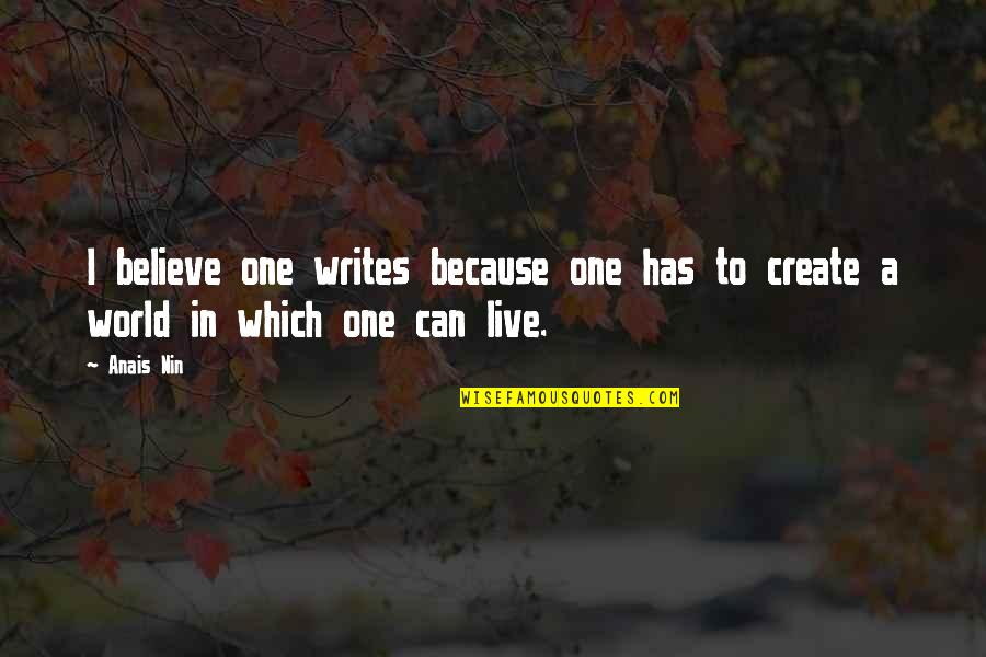 Thereremained Quotes By Anais Nin: I believe one writes because one has to