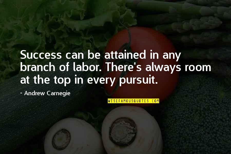 There's Always Room At The Top Quotes By Andrew Carnegie: Success can be attained in any branch of