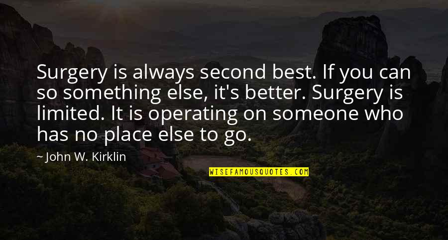 There's Always Something Better Quotes By John W. Kirklin: Surgery is always second best. If you can