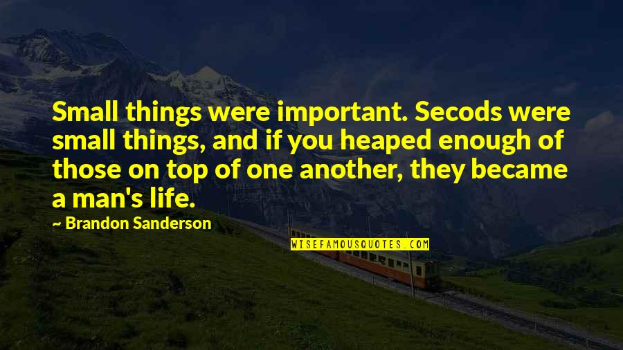 There's More Important Things In Life Quotes By Brandon Sanderson: Small things were important. Secods were small things,