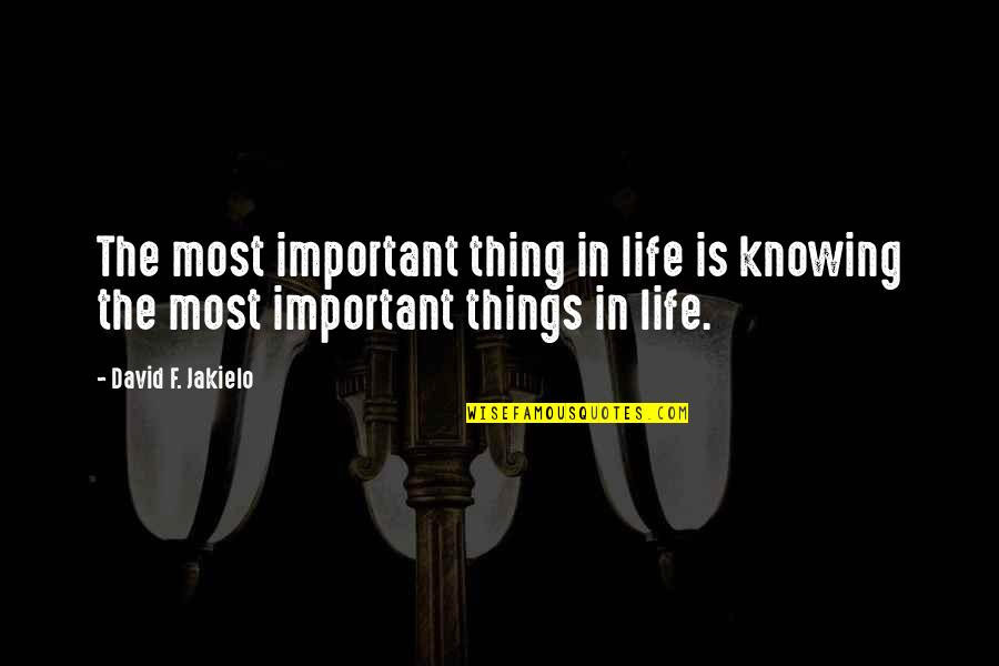 There's More Important Things In Life Quotes By David F. Jakielo: The most important thing in life is knowing