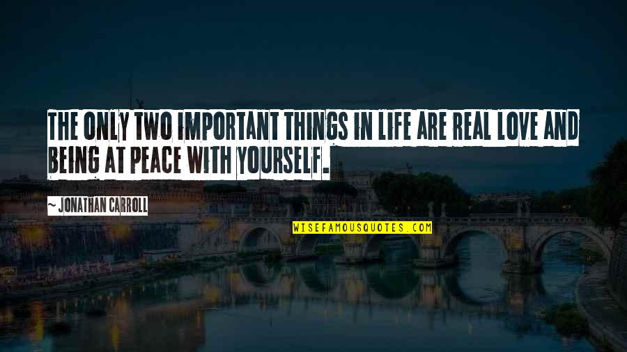 There's More Important Things In Life Quotes By Jonathan Carroll: The only two important things in life are