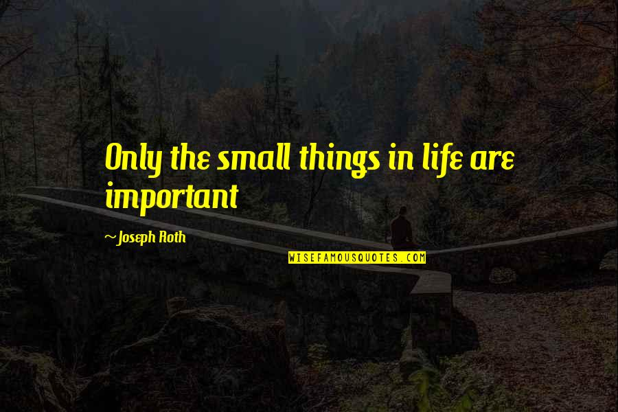 There's More Important Things In Life Quotes By Joseph Roth: Only the small things in life are important