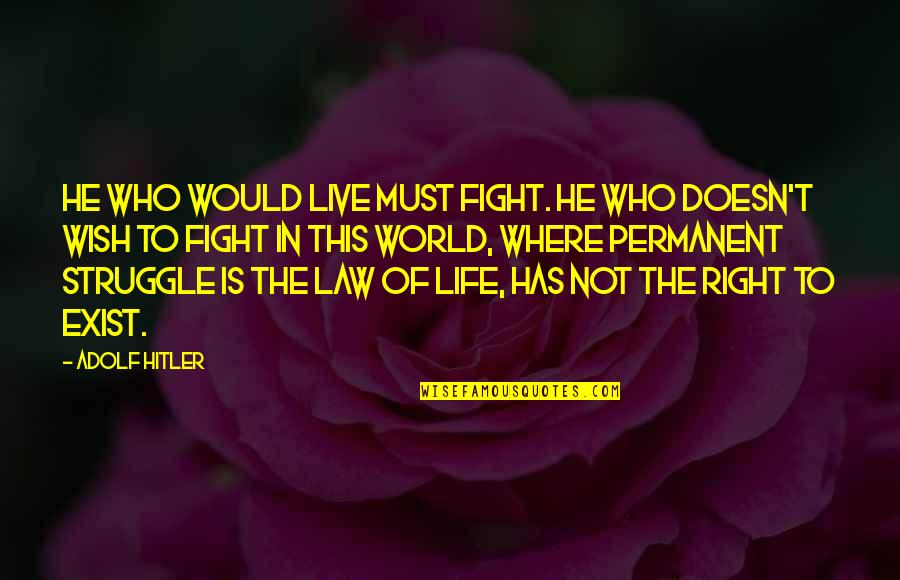 There's No Permanent In This World Quotes By Adolf Hitler: He who would live must fight. He who
