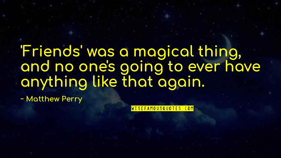 There's No Such Thing As Best Friends Quotes By Matthew Perry: 'Friends' was a magical thing, and no one's