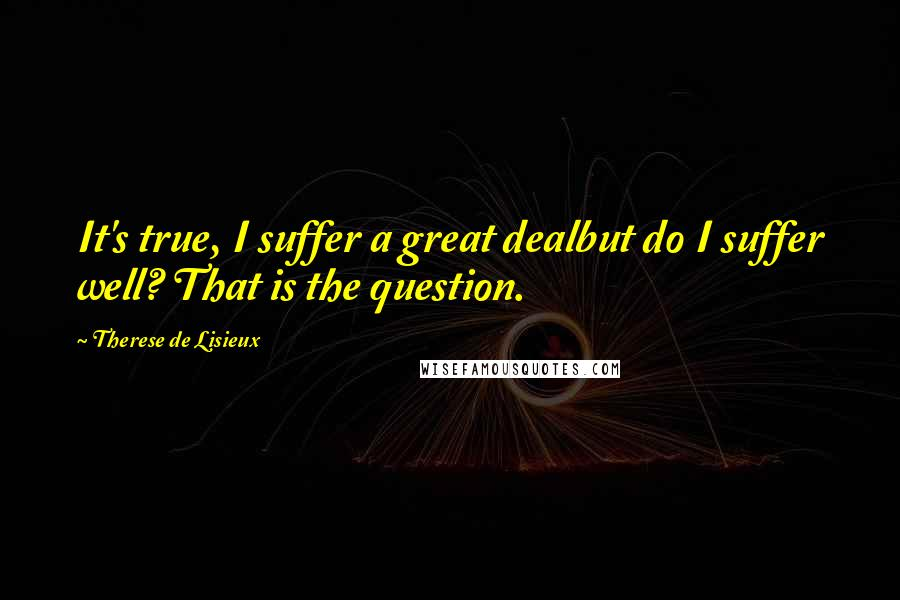 Therese De Lisieux quotes: It's true, I suffer a great dealbut do I suffer well? That is the question.