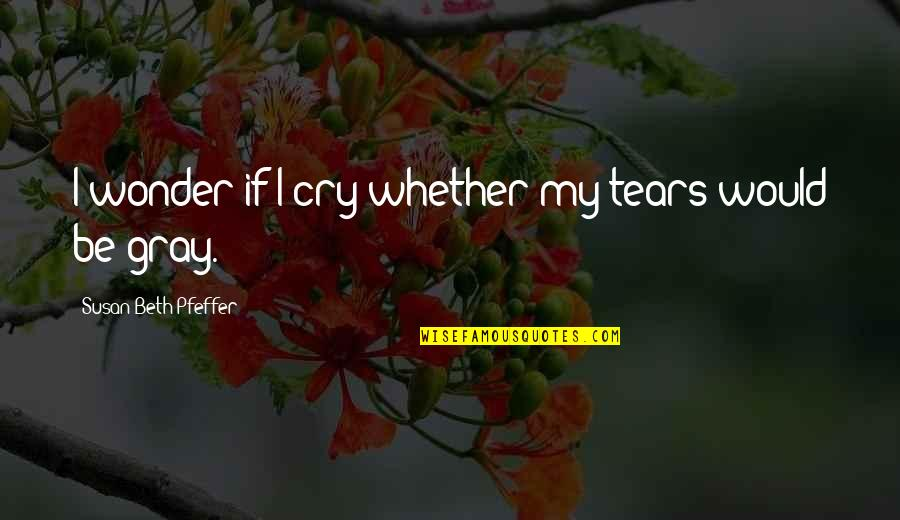 These Tears I Cry Quotes By Susan Beth Pfeffer: I wonder if I cry whether my tears