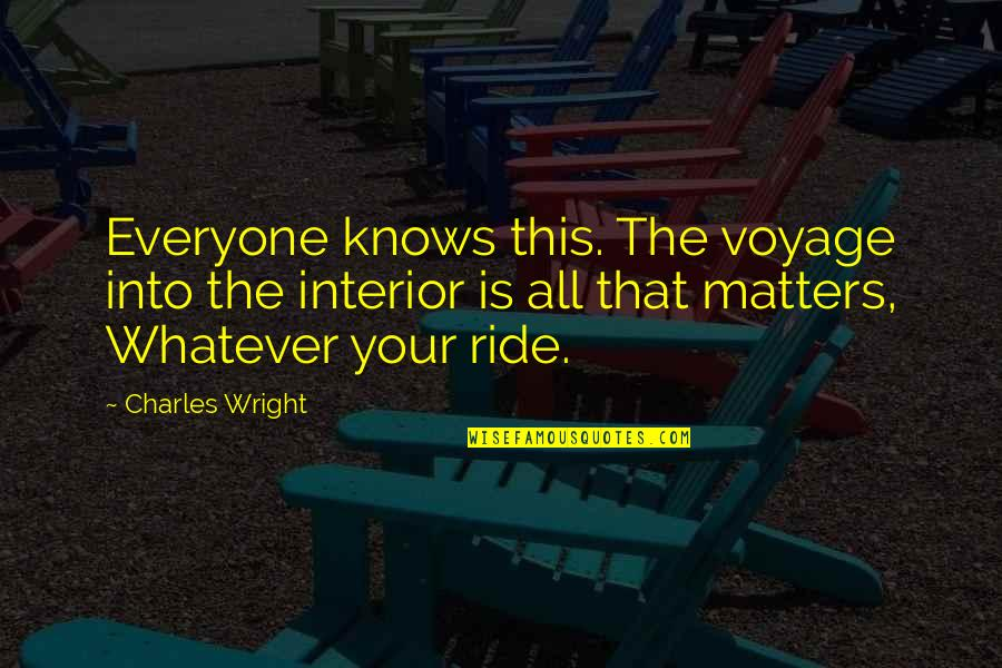 Theta Sisterhood Quotes By Charles Wright: Everyone knows this. The voyage into the interior