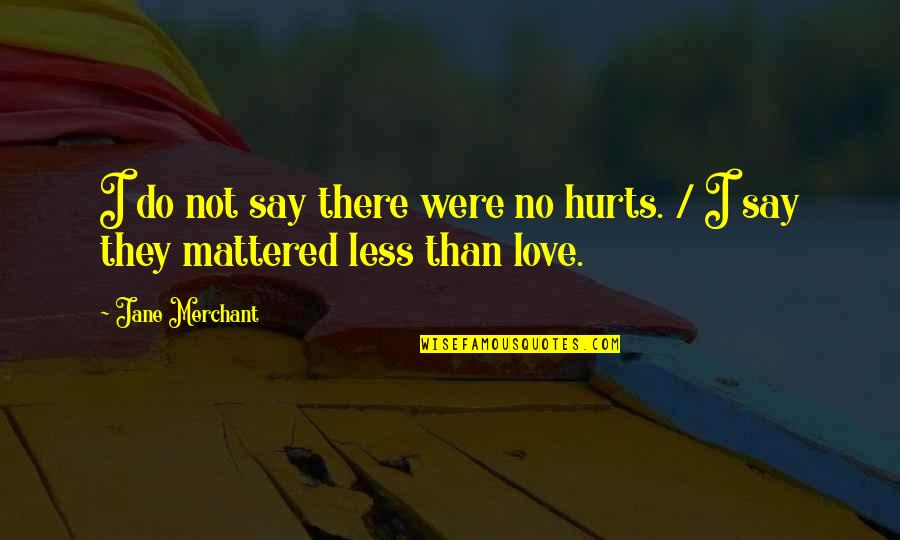 They Say I Say Quotes By Jane Merchant: I do not say there were no hurts.