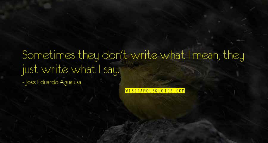 They Say I Say Quotes By Jose Eduardo Agualusa: Sometimes they don't write what I mean, they