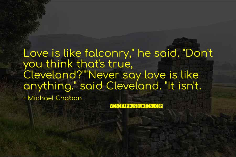 """They Say True Love Quotes By Michael Chabon: Love is like falconry,"""" he said. """"Don't you"""