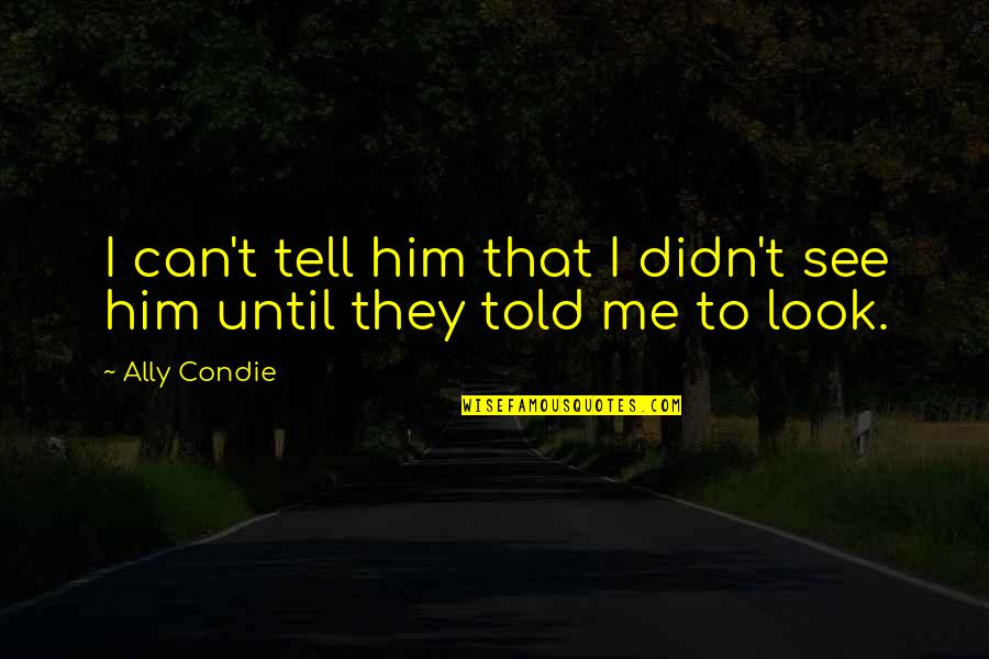 They Told Me Quotes By Ally Condie: I can't tell him that I didn't see