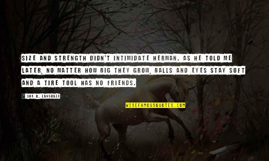 They Told Me Quotes By Joe R. Lansdale: Size and strength didn't intimidate Herman. As he