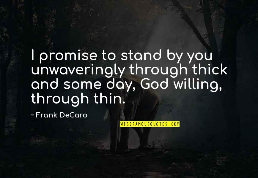 Thick & Thin Quotes By Frank DeCaro: I promise to stand by you unwaveringly through