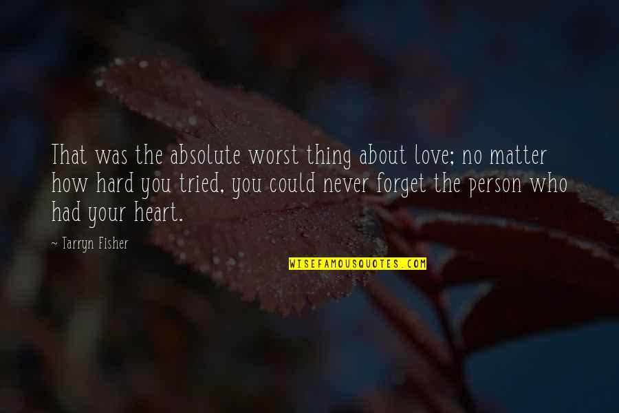 Thing I Love About You Quotes By Tarryn Fisher: That was the absolute worst thing about love;