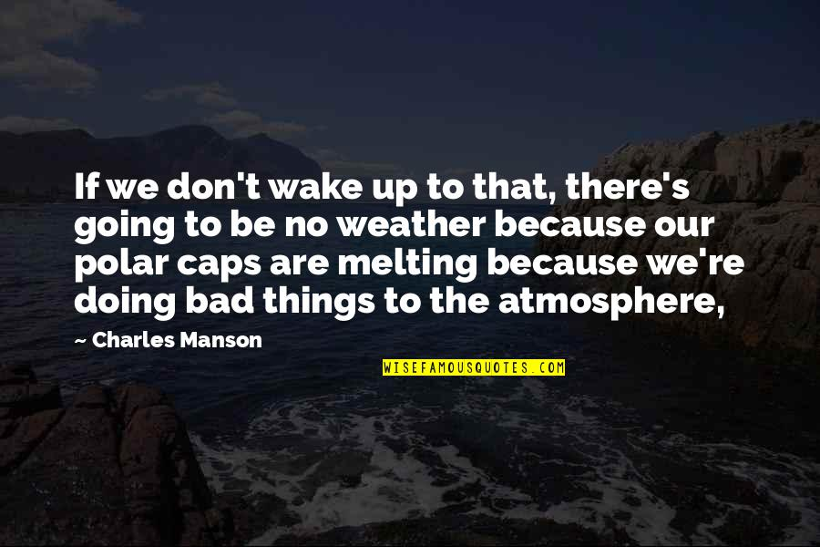 Things Are Going Bad Quotes By Charles Manson: If we don't wake up to that, there's