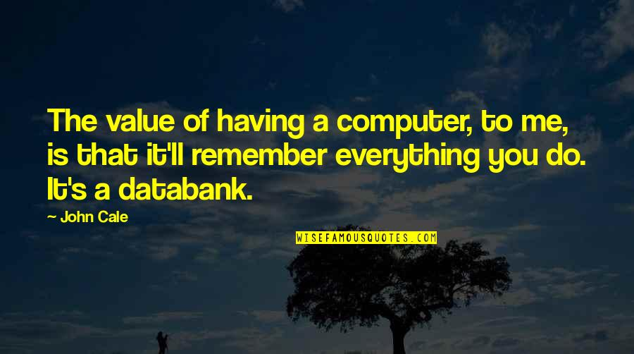 Things Change Relationship Quotes By John Cale: The value of having a computer, to me,