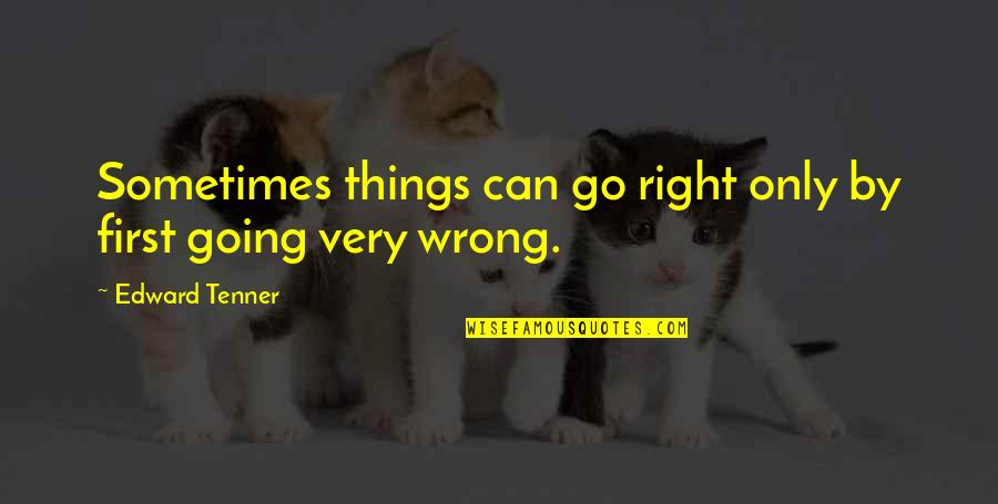 Things Go Wrong Quotes By Edward Tenner: Sometimes things can go right only by first