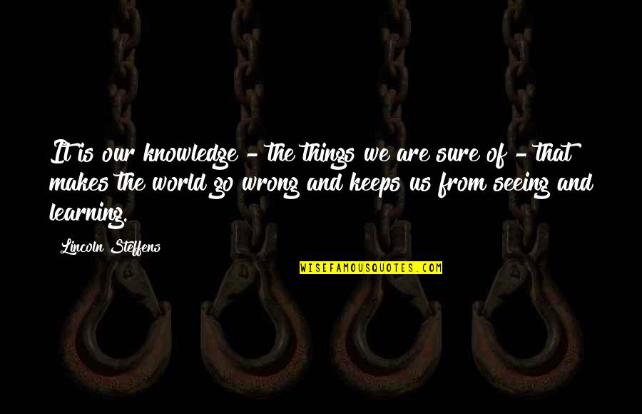 Things Go Wrong Quotes By Lincoln Steffens: It is our knowledge - the things we