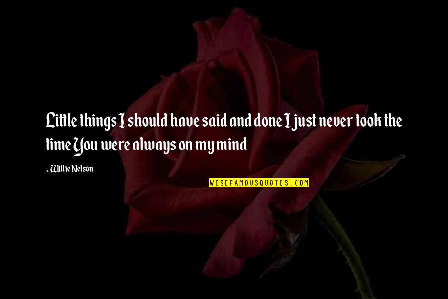 Things I Never Said Quotes By Willie Nelson: Little things I should have said and done