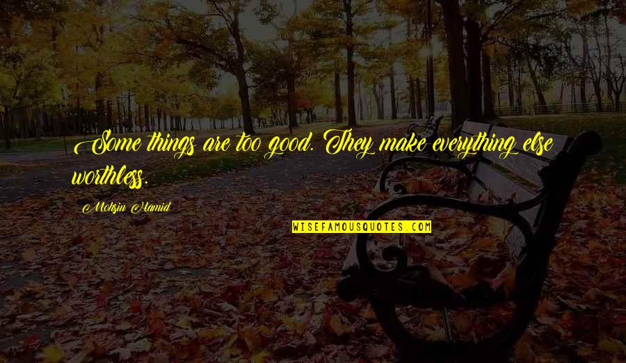 Things Not Worth It Quotes By Mohsin Hamid: Some things are too good. They make everything