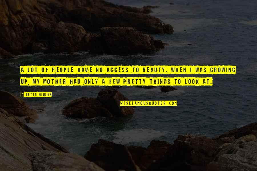 Things Of Beauty Quotes By Bette Midler: A lot of people have no access to