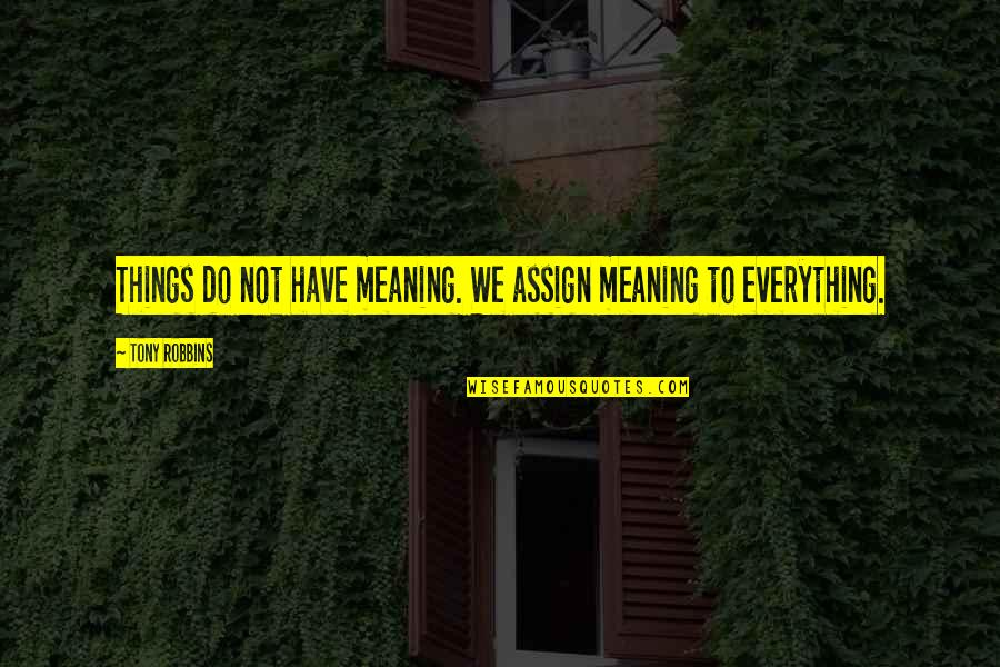 Things We Do Quotes By Tony Robbins: Things do not have meaning. We assign meaning