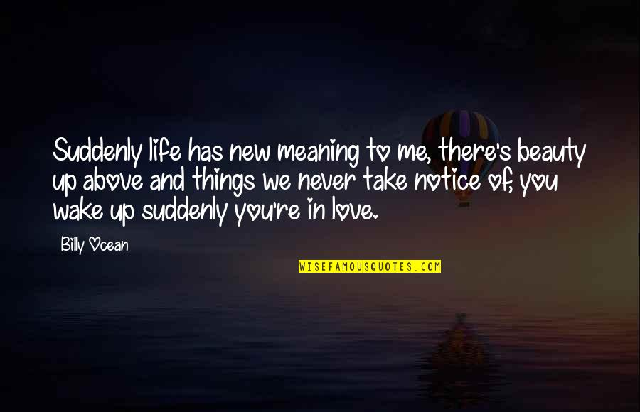 Things You Love Quotes By Billy Ocean: Suddenly life has new meaning to me, there's