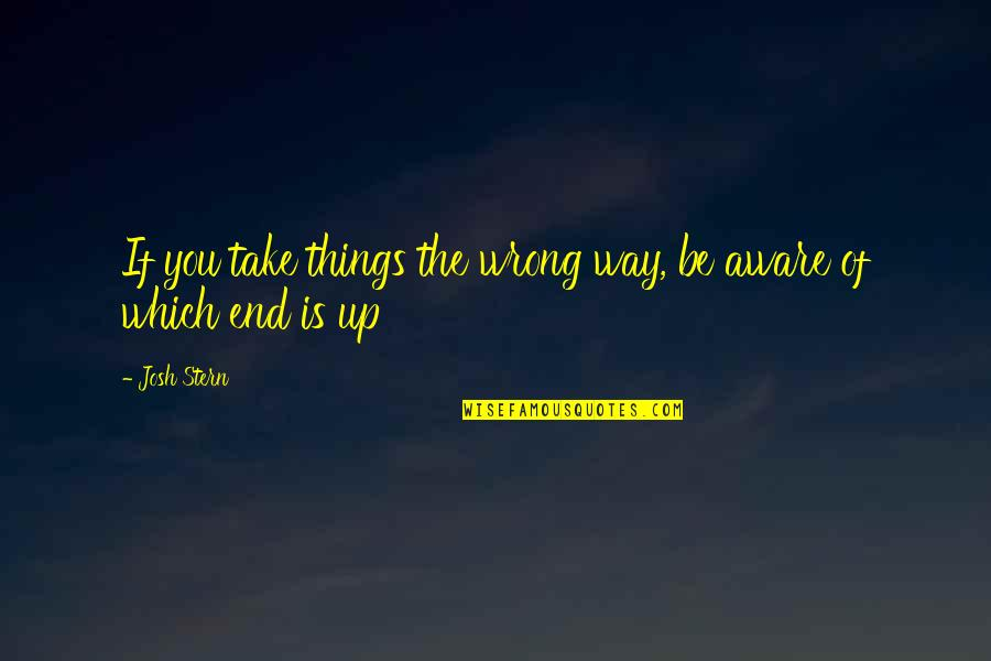 Things You Love Quotes By Josh Stern: If you take things the wrong way, be