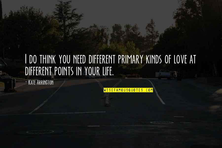 Think Of Life Quotes By Kate Arrington: I do think you need different primary kinds