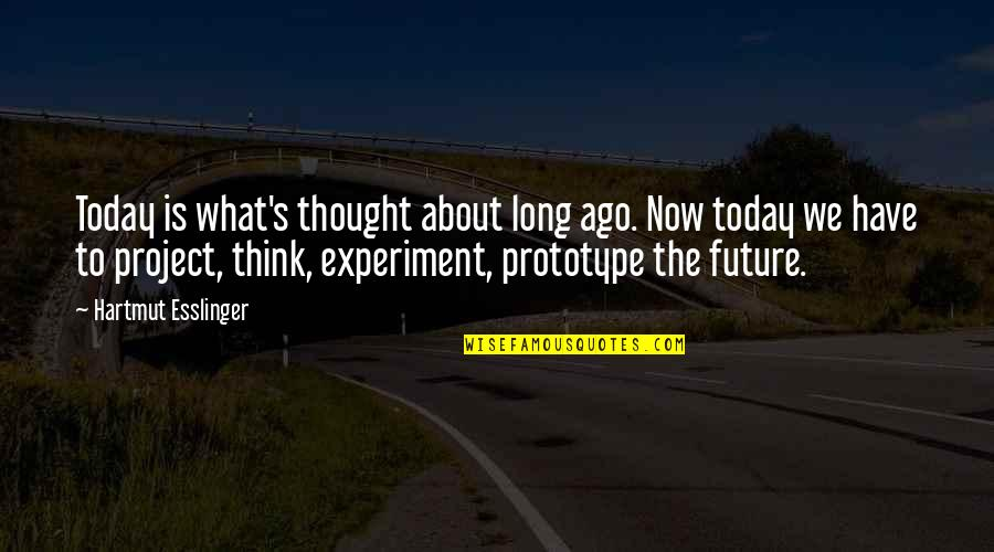 Thinking About Your Future Quotes By Hartmut Esslinger: Today is what's thought about long ago. Now