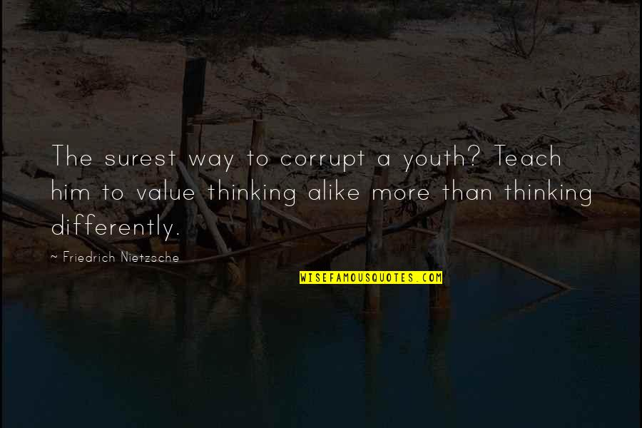 Thinking Alike Quotes By Friedrich Nietzsche: The surest way to corrupt a youth? Teach