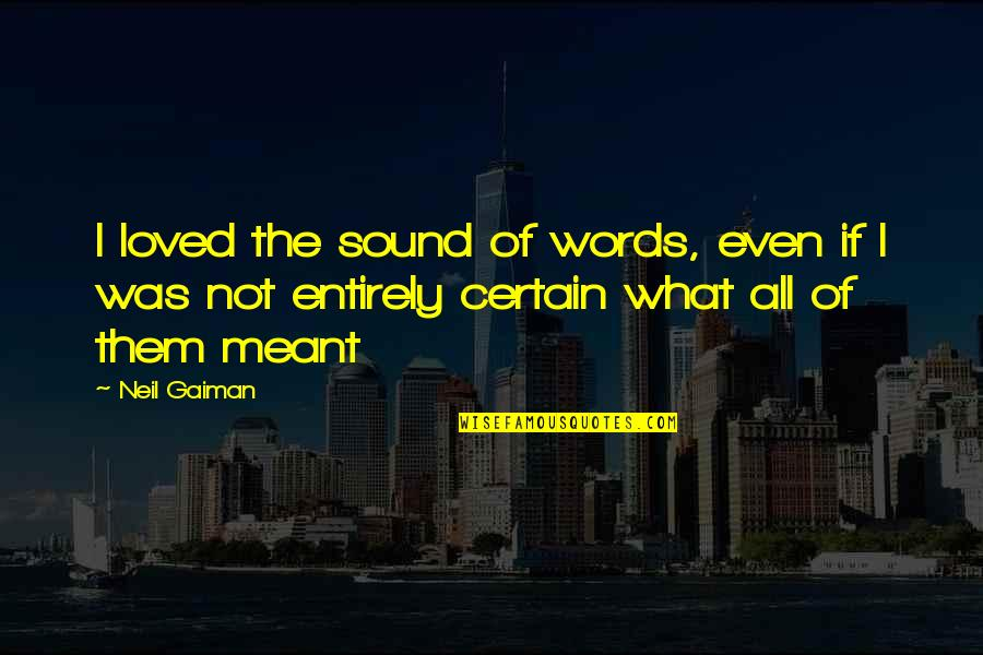 Thinking Bad To Others Quotes By Neil Gaiman: I loved the sound of words, even if